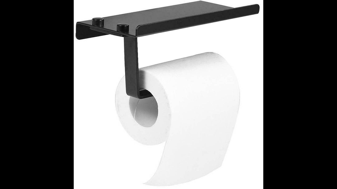 Toilet paper holder with shelf Black 390226