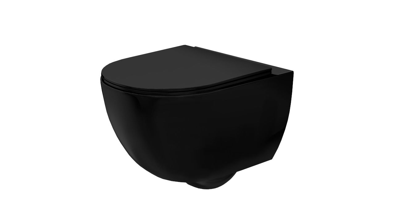 Wall hung toilet bowl Rea Carlo Mini Rimless Flat Black Mat