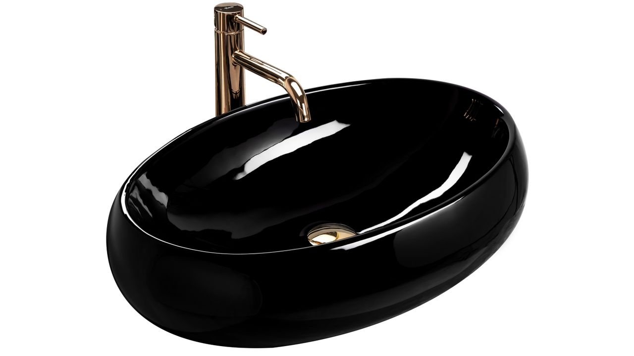 Countertop washbasin Rea Melania Black Shiny