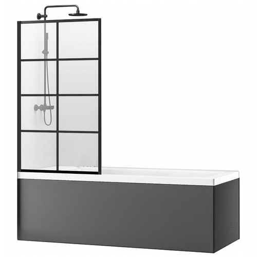 Bath shower screen Rea Lagos-1 Fix 70 Black