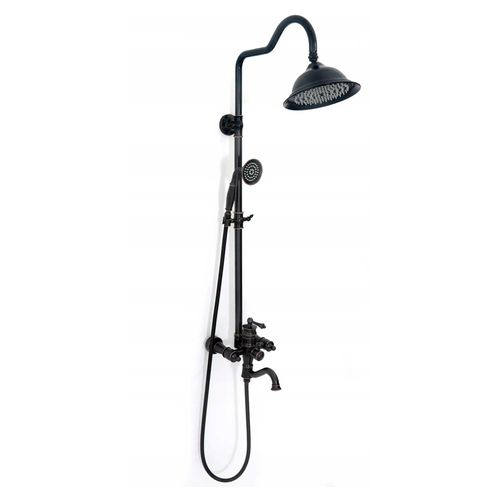 Shower set with shower spout Rea Vintage Black