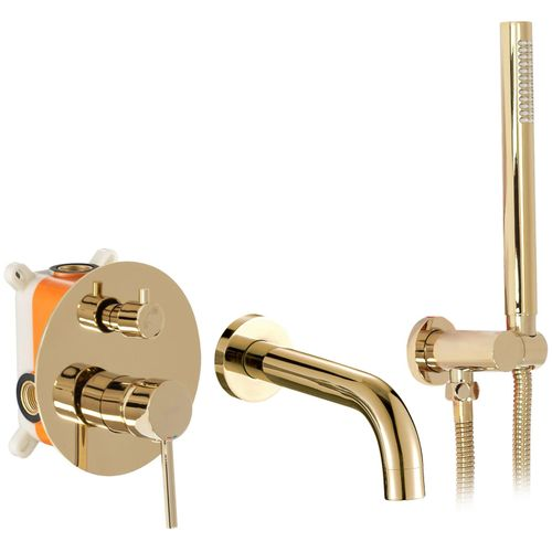 Wall mounted Bath mixer Rea Lungo L. Gold + BOX