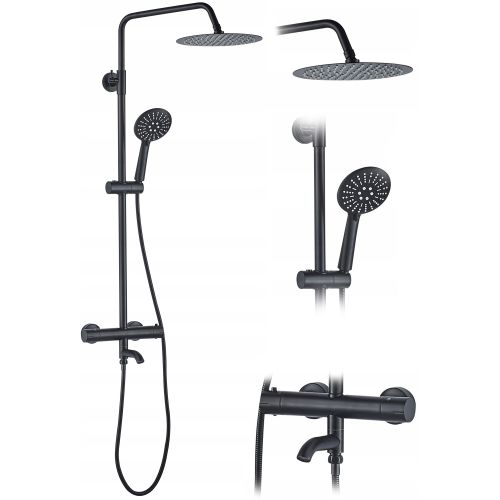 Thermostatic shower set Lungo Black