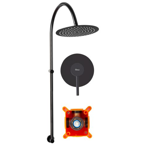 Surface-mounted Shower system Lugano Black Rea +BOX